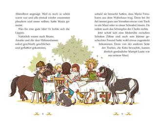 Innenansicht Doppelseite mit farbiger Illustration einer Familie mit Ponys und anderen Tieren am Tisch