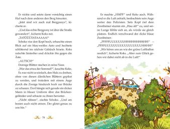 Innenansicht Doppelseite mit farbiger Illustration einer Brücke mit Polizeiauto darauf und sich versteckenden Ponys