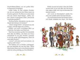 Innenansicht Doppelseite mit farbiger Illustration von Ponys mit Kutsche