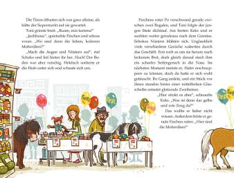 Innenansicht Doppelseite mit farbiger Illustration von Ponys im Supermarkt