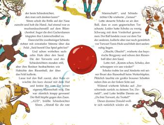 Innenansicht Doppelseite mit farbiger Illustration von mit Ball spielenden Ponys