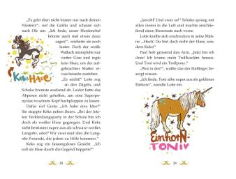 Innenansicht Doppelseite mit farbiger Illustration von verkleideten Ponys