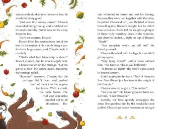 Innenansicht Doppelseite auf Englisch mit farbiger Illustration von Ponyhufen und Gemüse