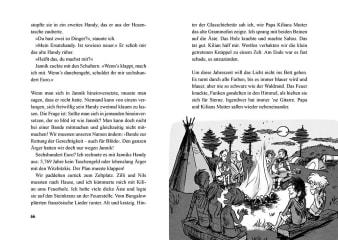 Innenansicht Doppelseite mit schwarz-weißer Illustration von Kindern und Erwachsenen am Lagerfeuer