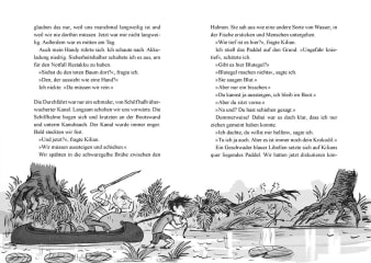 Innenansicht Doppelseite mit schwarz-weißer Illustration von Kindern mit Boot im See