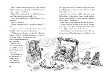 Innenansicht Doppelseite mit schwarz-weißer Illustration von Kindern auf Hollywoodschaukel vor Lagerfeuer