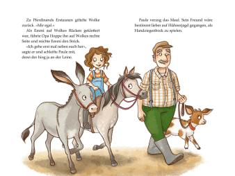 Innenansicht Doppelseite mit farbiger Illustration von Pferd und Esel mit Menschen