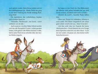 Innenansicht Doppelseite mit farbiger Illustration von reitenden Kindern auf Pferd und Esel