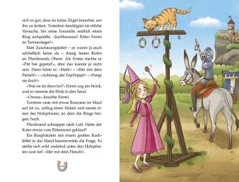 Innenansicht Doppelseite mit farbiger Illustration Ritter auf Esel und Prinzessin