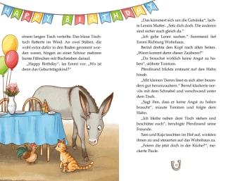 Innenansicht Doppelseite mit farbiger Illustration von Esel neben Tisch mit Luftballons