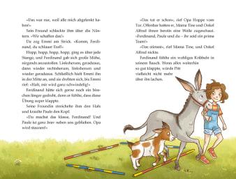 Innenansicht Doppelseite mit farbiger Illustration eines Esels mit Mädchen und Ziege
