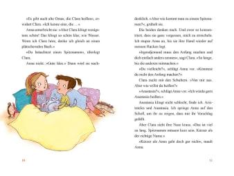 Innenansicht Doppelseite mit farbiger Illustration von zwei Mädchen mit Kater im Bett