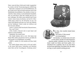 Innenansicht Doppelseite mit schwarz-weißer Illustration von Junge und Hund