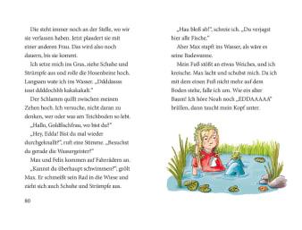 Innenansicht Doppelseite mit farbiger Illustration von Mädchen im Teich