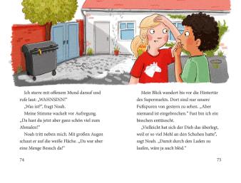Innenansicht Doppelseite mit farbiger Illustration von Junge und Mädchen