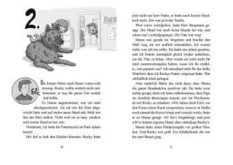 Innenansicht Doppelseite mit schwarz-weißer Illustration von Mädchen auf Hund liegend und Junge