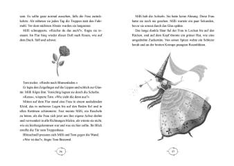 Innenansicht Doppelseite mit schwarz-weißer Illustration von Rose und Fee