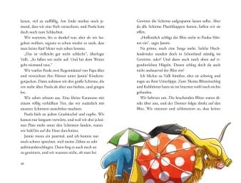 Innenansicht Doppelseite mit farbiger Illustration von mit Kleidung bedeckter Kuh