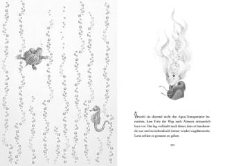Innenansicht Doppelseite mit schwarz-weißer Illustration von Mädchen, Schildkröte und Seepferdchen im Wasser