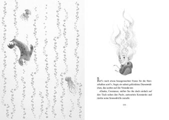 Innenansicht Doppelseite mit schwarz-weißer Illustration von Mädchen, Robbe und Quallen