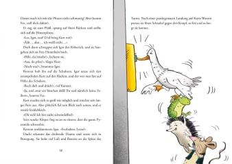 Innenansicht Doppelseite mit farbiger Illustration von Gans, Frosch, Igel und Ratte aufeinanderstehend