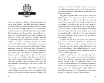 Innenansicht Doppelseite mit schwarz-weißer Illustration eines Basketballs
