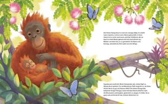 Innenansicht Doppelseite mit farbiger Illustration von Orang-Utan-Kind mit Mama