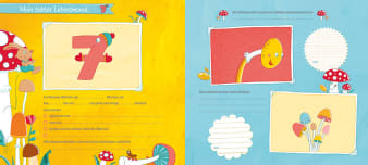 Innenansicht Doppelseite mit farbiger Illustration von Pilzen und Bilderrahmen