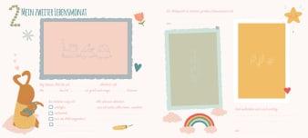 Innenansicht Doppelseite mit farbiger Illustration von Hasen und Bilderrahmen