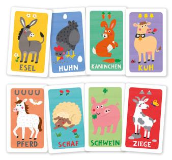 Innenansicht2 Karten mit farbiger Illustration von verschiedenen Tieren