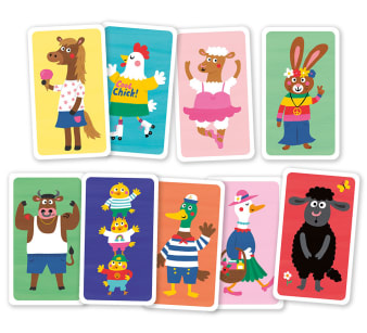 Innenansicht1 Karten mit farbiger Illustration von verschiedenen Tieren