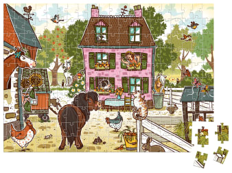 Innenansicht fertiges Puzzle mit farbiger Illustration von Bauernhof mit Haus und Tieren davor