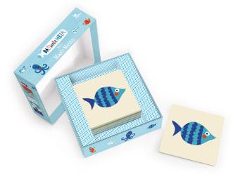 Innenansicht Karten mit farbiger Illustration eines Fisches