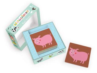 Innenansicht Karten mit farbiger Illustration eines Schweins