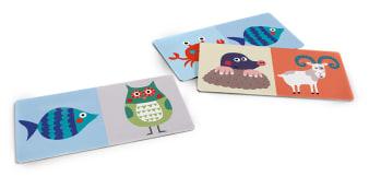 Innenansicht2 Karten mit farbiger Illustration von je zwei verschiedenen Tieren darauf