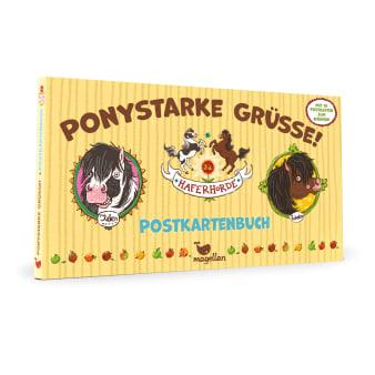 Cover Haferhorde Postkartenbuch Ponystarke Grüße Beschäftigung von Suza Kolb und Nina Dulleck