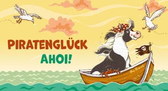 Innenansicht Karte mit farbiger Illustration von Pony auf Boot
