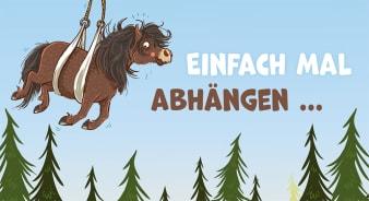Innenansicht Karte mit farbiger Illustration von Pony mit Seilen in der Luft hängend
