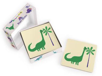 Innenansicht Karten mit farbiger Illustration eines Dinosauriers