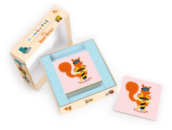 Innenansicht Karten mit farbiger Illustration eines Eichhörnchens mit Presslufthammer