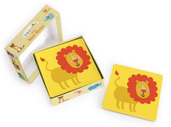 Innenansicht Karten mit farbiger Illustration eines Löwen