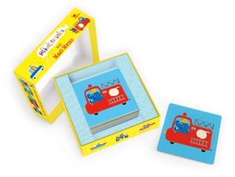 Innenansicht Karten mit farbiger Illustration eines Feuerwehrautos