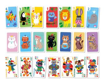 Innenansicht1 Kartenset mit farbiger Illustration von verschiedenen Tieren