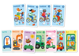 Innenansicht Karten mit farbiger Illustration von verschiedenen Autos und Fahrrädern