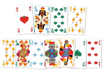 Innenansicht Karten mit farbiger Illustration von verschiedenen Formen und Tieren