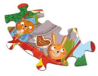 Innenansicht Puzzleteile mit farbiger Illustration von Hasenkind und Bärenkind