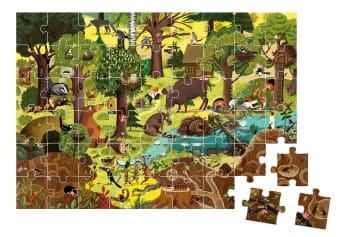 Innenansicht fertiges Puzzle mit farbiger Illustration von Wald mit Tieren