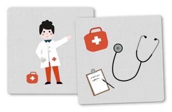 Innenansicht Karten mit farbiger Illustration von Arzt und dessen Instrumenten