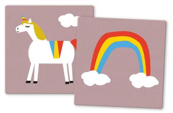 Innenansicht Karten mit farbiger Illustration von Einhorn und Regenbogen