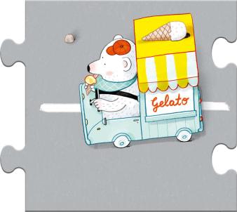 Innenansicht Puzzleteil mit farbiger Illustration vo Eiswagen mit Bär